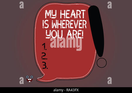 Word writing text My Heart Is Wherever You Are. Business concept for Expressing roanalysistic feelings and emotions Blank Color Speech Bubble Outlined - Stock Photo