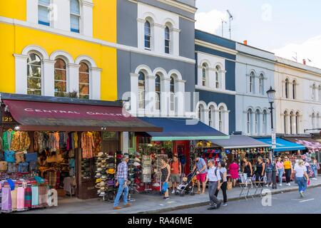 Shops on Portobello Road at Portobello Road Market, Notting Hill, London, United Kingdom - Stock Photo