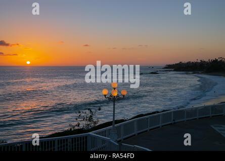 Beautiful Sunset over the Pacific Ocean at Laguna Beach, California - Stock Photo