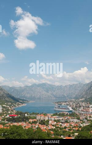 Kotor and the Bay of Kotor, Kotor Province, Montenegro - Stock Photo