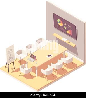 Vector isometric office meeting room interior - Stock Photo