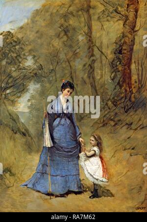 Jean-Baptiste-Camille Corot, Madame Stumpf and Her Daughter, French, 1796-1875, 1872, oil on canvas. Reimagined - Stock Photo