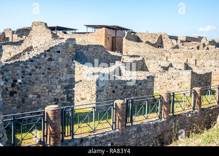 pompeii houses, bulidings ruins, Vesuvius eruption, history concept, ancient roman living conditions Naples Italy UNESCO, stone houses romans lived - Stock Photo