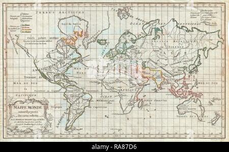 1784, Vaugondy Map of the World on Mercator Projection. Reimagined by Gibon. Classic art with a modern twist reimagined - Stock Photo
