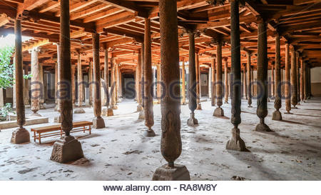 Juma Mosque With Some of its 218 Wooden Columns in Khiva, Uzbekistan (26.07.2016) - Stock Photo