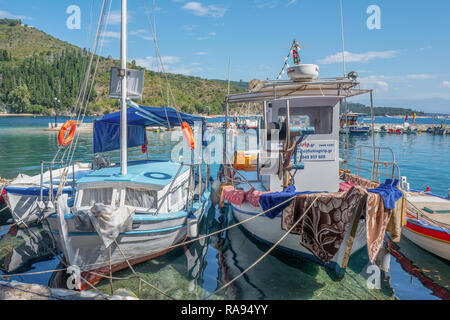 GREECE - CORFU - KOULOURA - JULY 25, 2018: Fishing boats for a fishingtrip in the port of Kouloura in Corfu, Greece. - Stock Photo