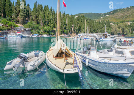 GREECE - CORFU - KOULOURA - JULY 25, 2018: Boats in the port of Kouloura in Corfu, Greece. - Stock Photo