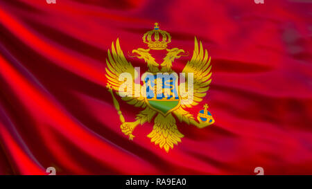 Montenegro flag. Waving flag of Montenegro 3d illustration. Podgorica - Stock Photo