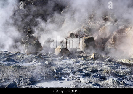 Seltun - geothermal area with hot springs and mud pots - Stock Photo