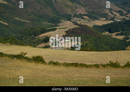 Beautiful Aerial Views Of The Rebedul Village In The Countryside Of Galicia. Nature, Landscapes, Botany, Travel. August 2, 2015. Rebedul, Lugo, Galici - Stock Photo