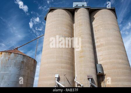 Grain silos in rural Victoria Australia - Stock Photo