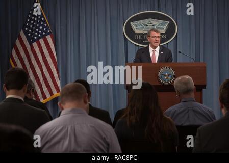 Secretary of Defense Ash Carter briefs reporters Jan. 19, 2017, at the Pentagon in Washington, D.C. - Stock Photo
