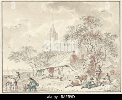 Sheepshearers, Hendrik Meijer, 178. Reimagined by Gibon. Classic art with a modern twist reimagined - Stock Photo