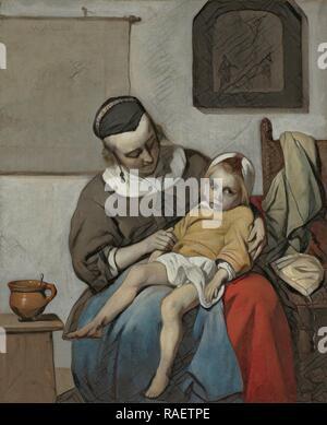 The Sick Child, Gabriël Metsu, c. 1664 - c. 166. Reimagined by Gibon. Classic art with a modern twist reimagined - Stock Photo