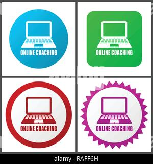 Online coaching vector icon set. Flat design web icons in eps 10. Colorful internet buttons in four versions - Stock Photo