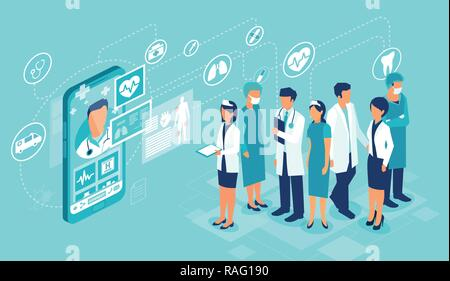 Concept of healthcare app on a smartphone. Vector of professional medical team connected online to a patient giving a medical consultation - Stock Photo