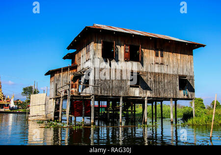 Traditional hous on stilts in Inle lake, Myanmar(Burma) - Stock Photo