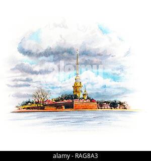 Watercolor Saint Petersburg, Russia - Stock Photo
