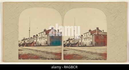 Scarisbrick Arms, Lord Street, Southport, British, about 1865, Albumen silver print. Reimagined by Gibon. Classic art reimagined - Stock Photo