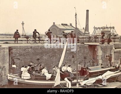 Onlookers view the locking of the Hollandia boat Oranjesluizen Amsterdam, The Netherlands, Anonymous, c. 1900 - c reimagined - Stock Photo