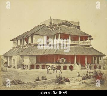 Major Banks' House, Felice Beato (English, born Italy, 1832 - 1909), Lucknow, Uttar Pradesh, India, 1858, Albumen reimagined - Stock Photo