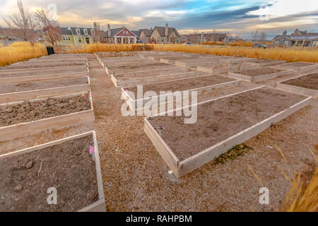 Growbeds in community park for the locals - Stock Photo