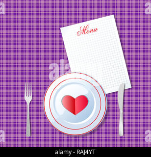 illustration of heart on white plate with fork and knife on violet chequered tablecloth background and sheet with title menu and space for text. Valen - Stock Photo