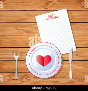 illustration of heart on white plate with fork and knife on wooden table surface  background and sheet with title menu and space for text. Valentine's - Stock Photo