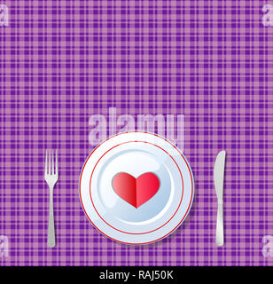 Romantic dinner. Red heart shape on a plate with knife and fork on chequered violet tablecloth background.   illustration, card, template with space f - Stock Photo