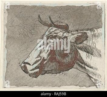 cow, print maker: Johannes Janson, 1761 - 1784. Reimagined by Gibon. Classic art with a modern twist reimagined - Stock Photo