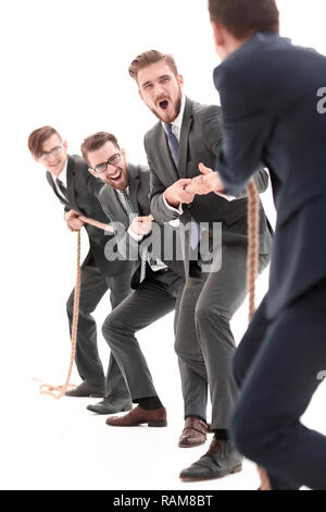 teambuilding.the tug of war between business teams. - Stock Photo