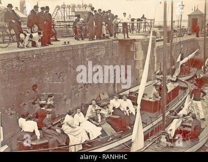 Onlookers view the locking of the Hollandia boat Oranjesluizen Amsterdam, The Netherlands, Anonymous, c. 1900 - c reimagined - Stock Photo