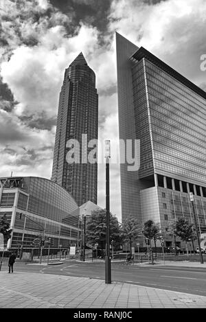 the trade fair tower in black and white, frankfurt am main - Stock Photo