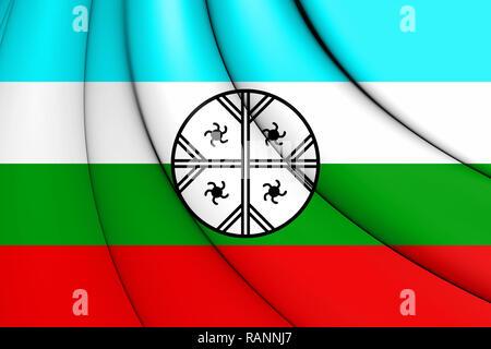 3D Mapuche Flag of Huenteche Territory. 3D Illustration. - Stock Photo