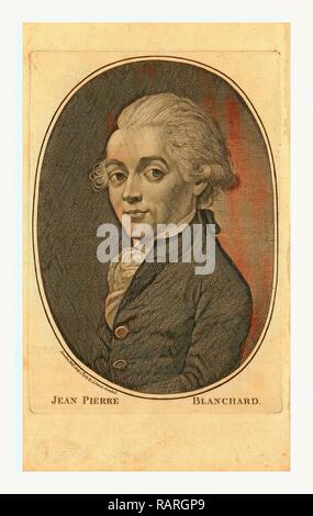 Jean Pierre Blanchard, London Published by I. Sewel, Cornhill, July 1st, 1785, Half-length portrait of French reimagined - Stock Photo