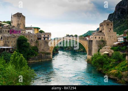 Mostar Bridge over Neretva river, Unesco World Heritage Site, Mostar, Bosnia and Herzegovina - Stock Photo
