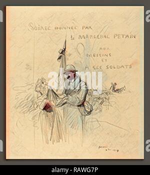 Jean-Louis Forain, Le Baiser du Drapeau, French, 1852 - 1931, 1918, black crayon on laid paper. Reimagined - Stock Photo