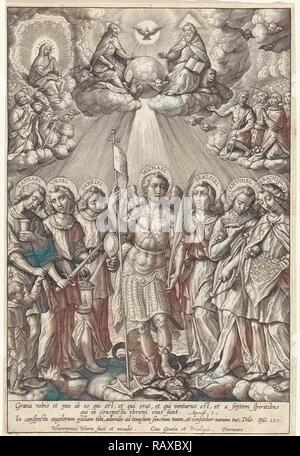 Seven Archangels, Hieronymus Wierix, 1563 - before 1619. Reimagined by Gibon. Classic art with a modern twist reimagined - Stock Photo
