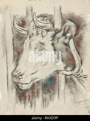 Head of a cow, print maker: Gijsbertus Craeyvanger, 1836. Reimagined by Gibon. Classic art with a modern twist reimagined - Stock Photo