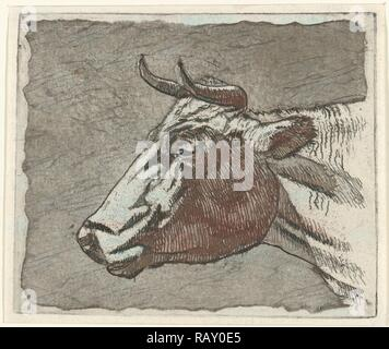 cow, Johannes Janson, 1761 - 1784. Reimagined by Gibon. Classic art with a modern twist reimagined - Stock Photo