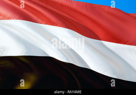 Yemen flag. 3D Waving flag design. The national symbol of Yemen, 3D rendering. National colors and National flag of Yemen for a background. Middle Eas - Stock Photo