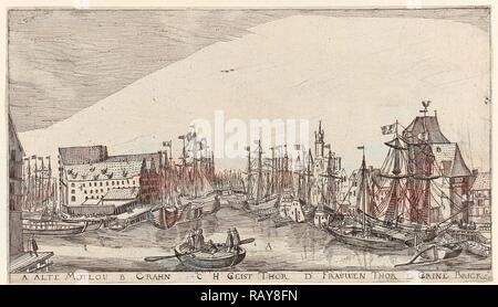 In and around the city of Danzig Series of 14 numbered prints, Aegidius Dickmann, Frederik de Wit, 1605 - 1705 reimagined - Stock Photo
