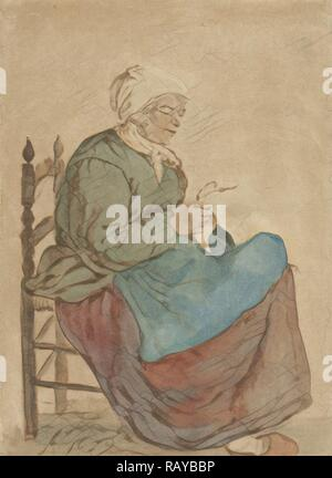 Old Woman Reading, Jurriaan Cootwijck, Gabriël Metsu, 1760. Reimagined by Gibon. Classic art with a modern twist reimagined - Stock Photo