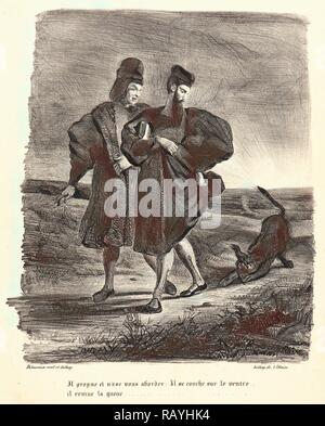 Eugène Delacroix (French, 1798 - 1863). Faust, Mephistopheles, and the Water Dog (Faust, Méphistophélès et le barbet reimagined - Stock Photo
