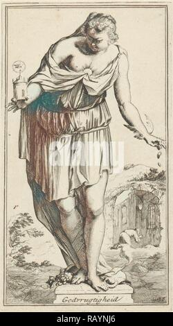 Personification of piety, Arnold Houbraken, 1710 - 1719. Reimagined by Gibon. Classic art with a modern twist reimagined - Stock Photo