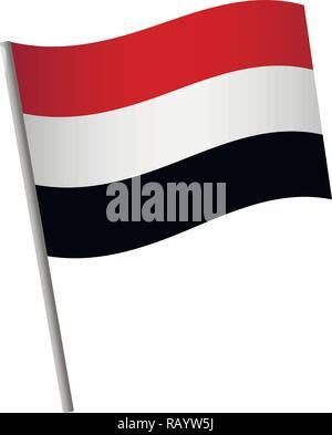 Yemen flag icon. National flag of Yemen on a pole vector illustration. - Stock Photo
