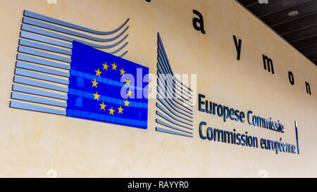 BRUSSELS, BELGIUM - JUL 30, 2014: EU sign at the entrance of the Berlaymont building in Brussels. The Berlaymont is an office building and it is the h - Stock Photo