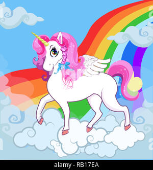 Multicolor cartoon baby Illustration of white pony unicorn princess character with big eyes, golden horn, feather wings and pink mane standing on clou - Stock Photo