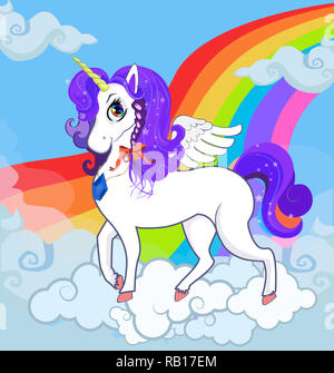 Multicolored cartoon kids Illustration of white pony unicorn princess character with big eyes, golden horn, feather wings and purple mane standing on  - Stock Photo