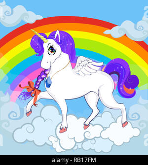Multicolor cartoon baby Illustration of white pony unicorn princess character with big eyes, golden horn, feather wings and violet mane standing on cl - Stock Photo